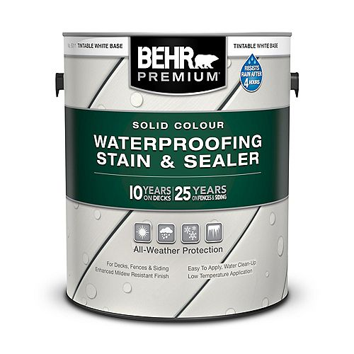 Behr Premium Solid Colour Waterproofing Stain & Sealer - Tintable White No. 5011, 3.79L