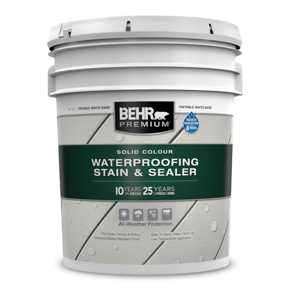 BEHR PREMIUM Solid Colour Weatherproofing Wood Stain, White No. 5011, 18.95 L