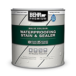 BEHR PREMIUM SOLID Colour Weatherproofing Wood Stain, White No. 5011, 237 mL