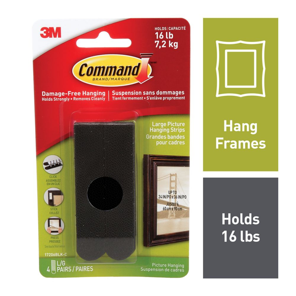Command Large Picture Hanging Strips, 17206BLK-C, black