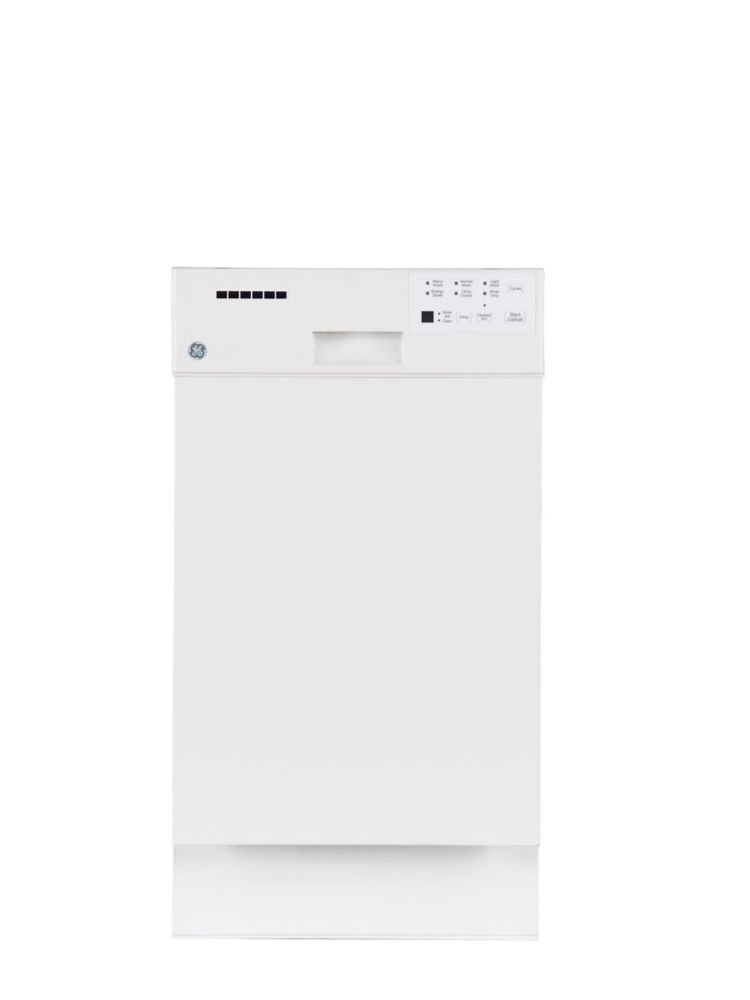 18-inch Built-In Dishwasher with Stainless Steel Tub in White