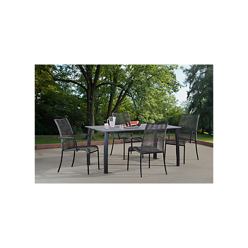 Zilio Dining Set, Beige and Ebony