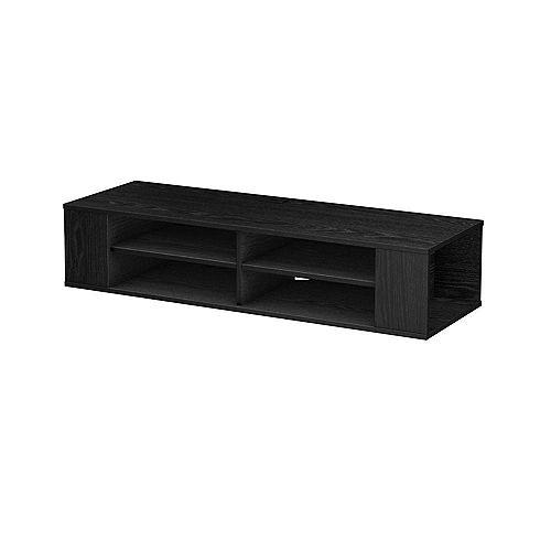 City Life Wall-Mount 4-Shelf Media Console in Black Oak