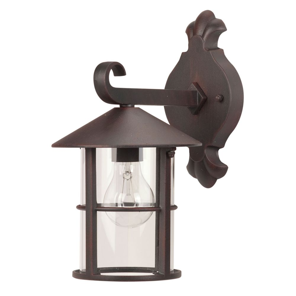 Hampton Bay Camille 13.1 Inch Downward Wallmount, Bronze, Clear Glass, 1x A19/60W Bulb (Not Included)