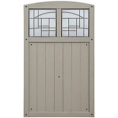 Baycrest 3.5 ft. x 5.6 ft. Wood Fence Gate with Faux Glass Insert