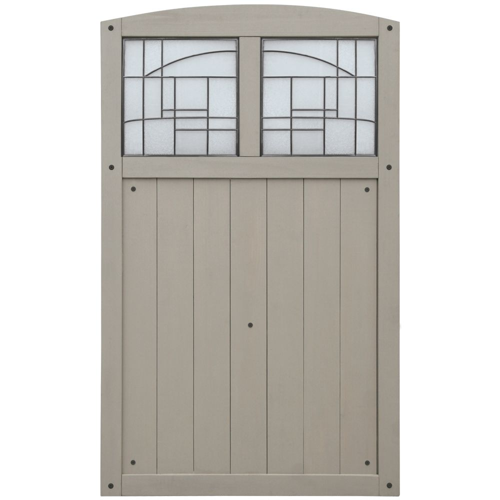 42 Inch X 68 Inch Gate With Faux Glass Insert - Grey
