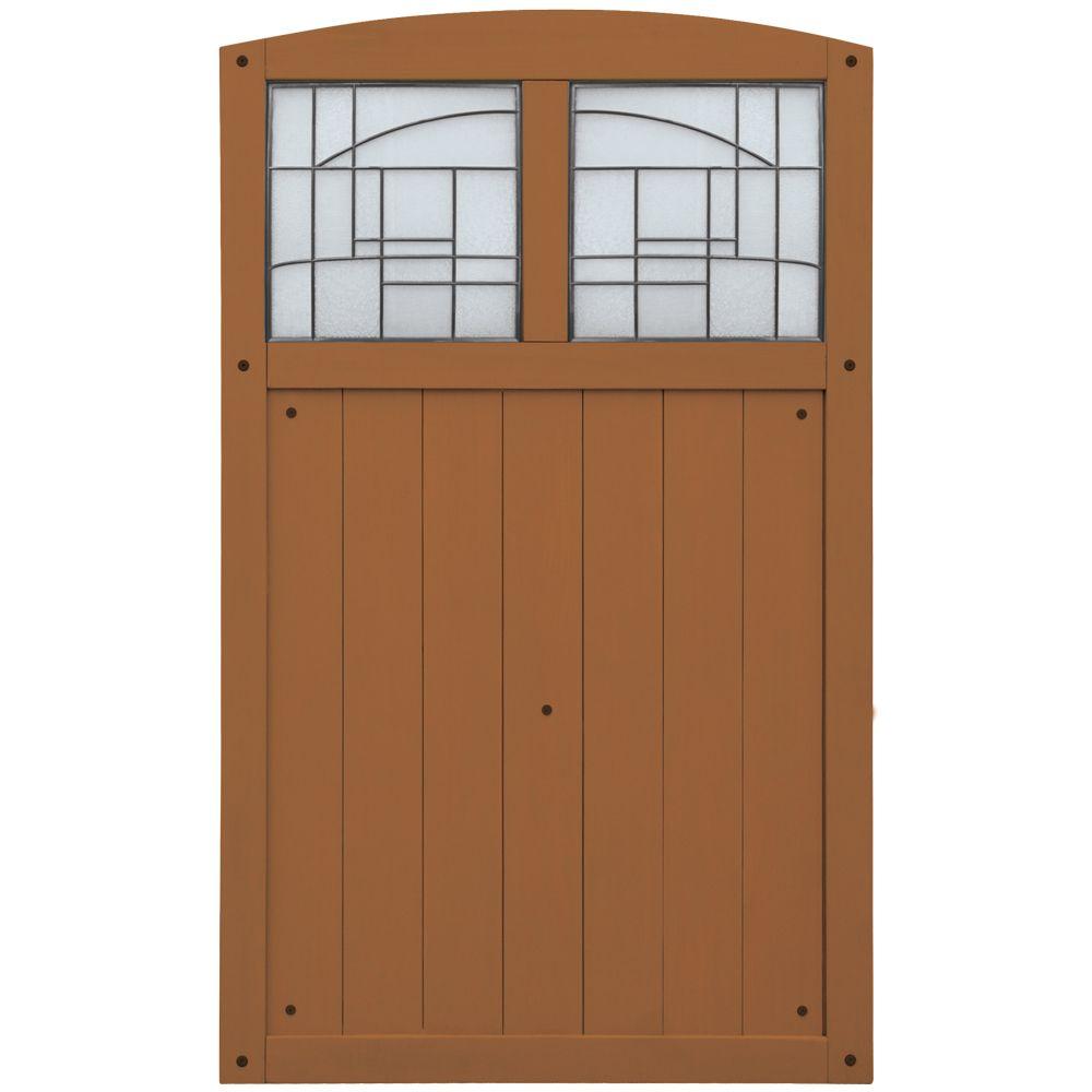42 Inch X 68 Inch Gate With Faux Glass Insert - Amber/Cedar
