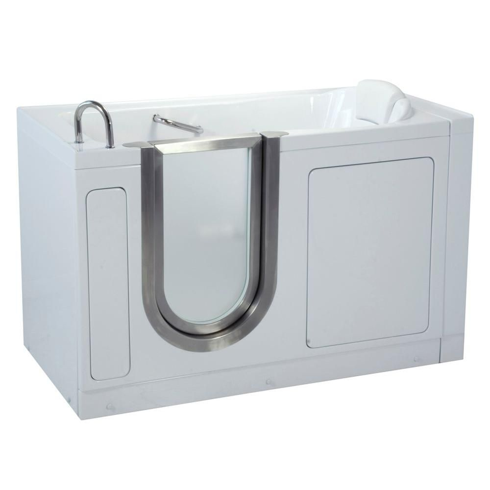 55W x 30D Deluxe Arylic Soaking Walk-In Tub, Dual 2Drain, Left Hand Side Door