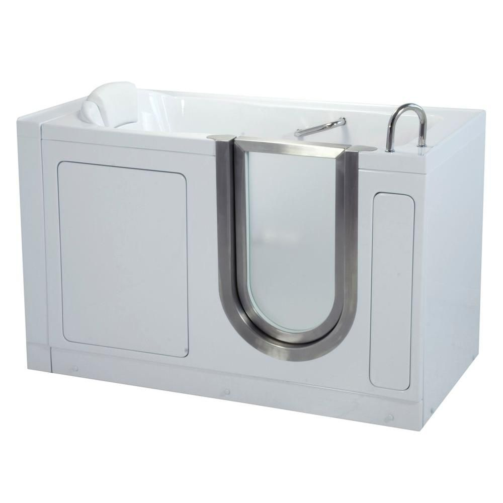 Deluxe 4 Feet 7-Inch Walk-In Non Whirlpool Bathtub in White
