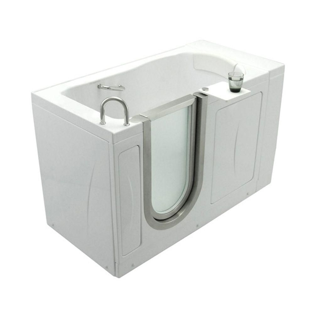 Elite 4 Feet 4-Inch Walk-In Non Whirlpool Bathtub in White with Swivel Tray