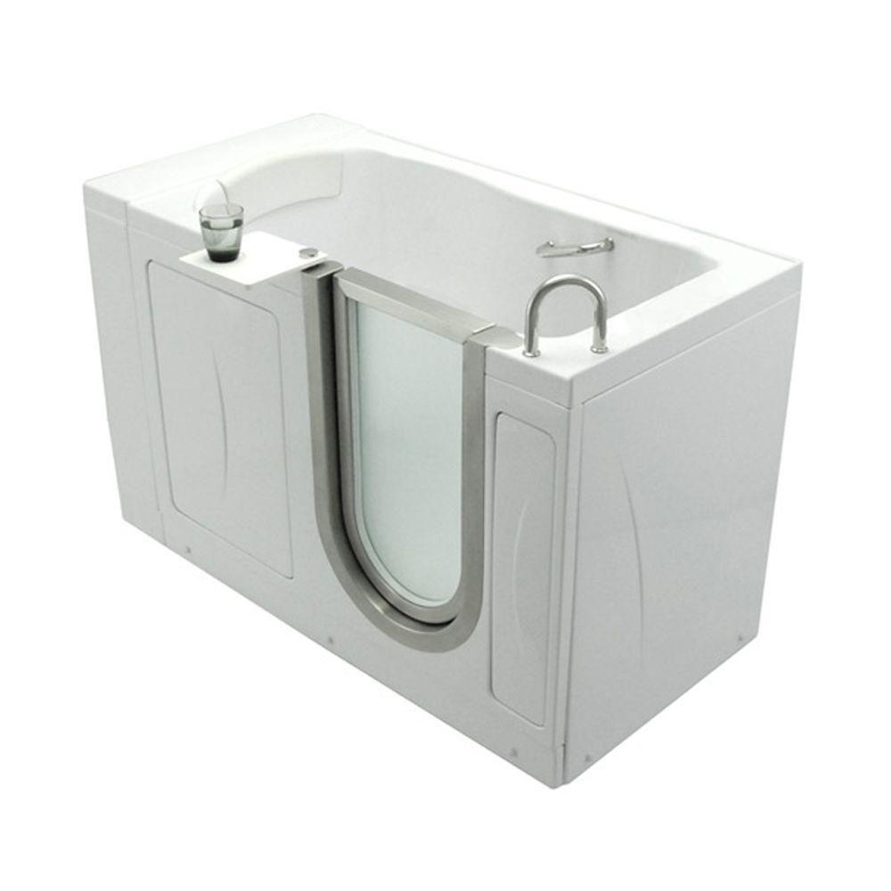 Elite 4 Feet 4-Inch Walk-In Non Whirlpool Bathtub in White with Swivel Tray