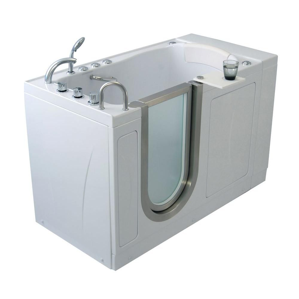 Ella Elite 4 Feet 4-Inch Walk-In Whirlpool Bathtub in White with Swivel Tray