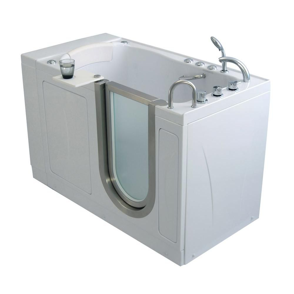 Elite 4 Feet 4-Inch Walk-In Whirlpool Bathtub in White with Swivel Tray