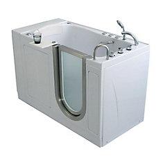 Elite 4 Feet 4-Inch Walk-In Whirlpool Bathtub in White with Swivel Tray