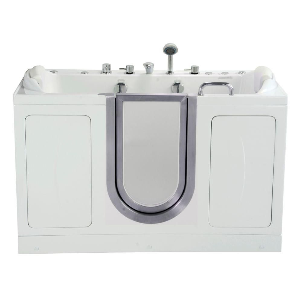 60W x 30D Companion Acrylic Dual Massage Two Seat Walk-In, Dual 2Drain, Centered Door