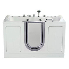 Companion 5 Feet 2-Seat Walk-In Whirlpool Bathtub in White