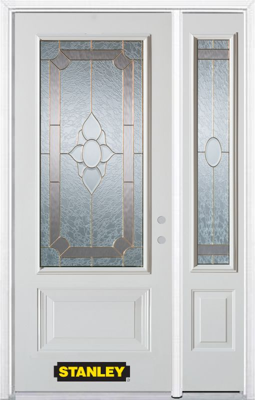 Stanley Doors 50.25 inch x 82.375 inch Rochelle Brass 3/4 Lite 1-Panel Prefinished White Left-Hand Inswing Steel Prehung Front Door with Sidelite and Brickmould