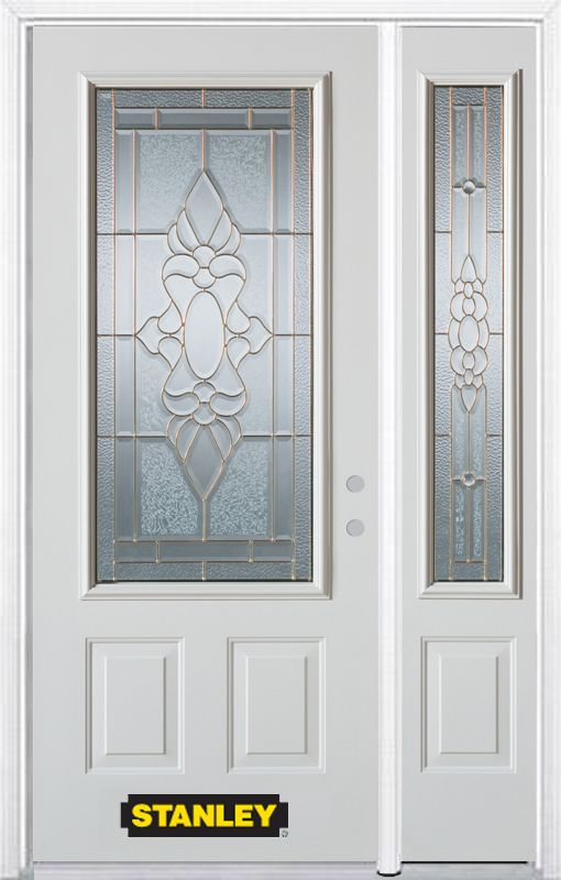 Stanley Doors 52.75 inch x 82.375 inch Victoria Brass 3/4 Lite 2-Panel Prefinished White Left-Hand Inswing Steel Prehung Front Door with Sidelite and Brickmould - ENERGY STAR®