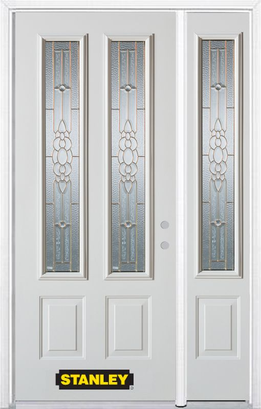 Stanley Doors 50.25 inch x 82.375 inch Victoria Brass 2-Lite 2-Panel Prefinished White Left-Hand Inswing Steel Prehung Front Door with Sidelite and Brickmould