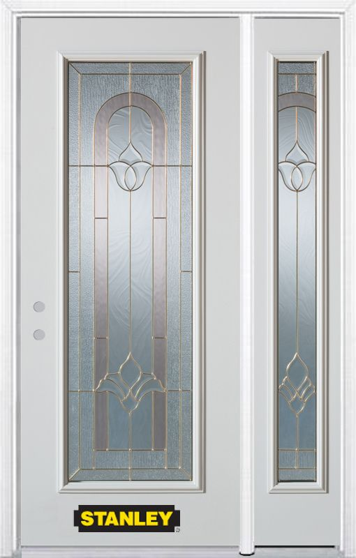 Stanley Doors 48.25 inch x 82.375 inch Marilyn Brass Full Lite Prefinished White Right-Hand Inswing Steel Prehung Front Door with Sidelite and Brickmould - ENERGY STAR®