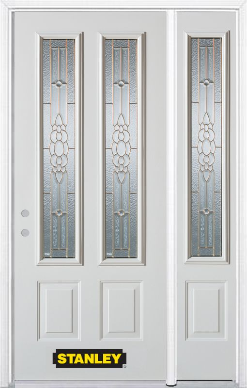 52-inch x 82-inch Victoria 2-Lite 2-Panel White Steel Entry Door with Sidelite and Brickmould