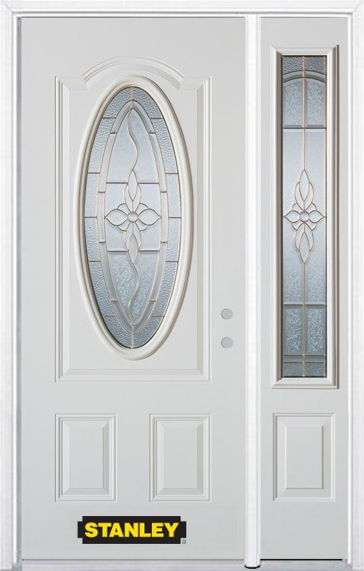 Stanley Doors 48.25 inch x 82.375 inch Trellis Brass 3/4 Oval Lite 2-Panel Prefinished White Left-Hand Inswing Steel Prehung Front Door with Sidelite and Brickmould