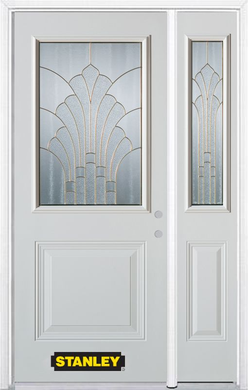 Stanley Doors 50.25 inch x 82.375 inch Gladis Brass 1/2 Lite 1-Panel Prefinished White Left-Hand Inswing Steel Prehung Front Door with Sidelite and Brickmould - ENERGY STAR®