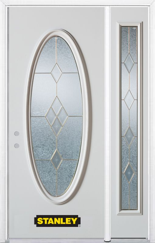 Stanley Doors 52.75 inch x 82.375 inch Tulip Brass Full Oval Lite Prefinished White Right-Hand Inswing Steel Prehung Front Door with Sidelite and Brickmould