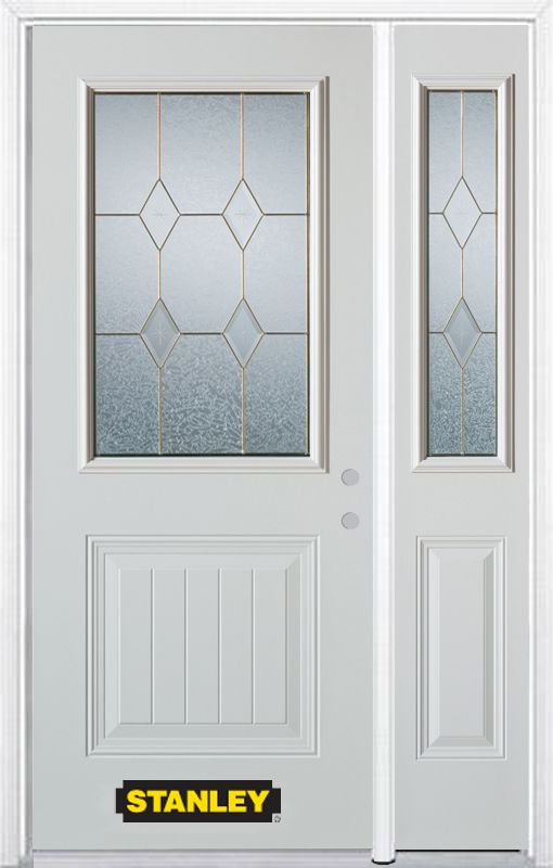 Stanley Doors 48.25 inch x 82.375 inch Tulip Brass 1/2 Lite 1-Panel Prefinished White Left-Hand Inswing Steel Prehung Front Door with Sidelite and Brickmould