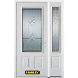 STANLEY Doors 52.75 inch x 82.375 inch Beatrice Brass 3/4 Lite 2-Panel Prefinished White Left-Hand Inswing Steel Prehung Front Door with Sidelite and Brickmould - ENERGY STAR®
