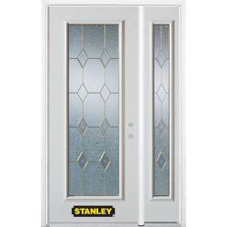 Stanley Doors Porte dentrée en acier préfini en blanc, munie d'un panneau de verre, 53 po x 82 po avec panneaux latéraux et moulure de brique