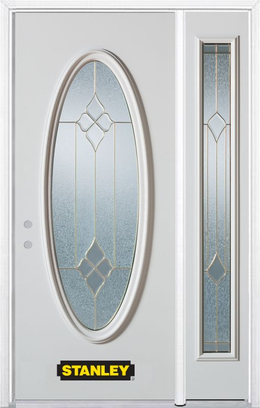 Stanley Doors 48.25 inch x 82.375 inch Beatrice Brass Full Oval Lite Prefinished White Right-Hand Inswing Steel Prehung Front Door with Sidelite and Brickmould