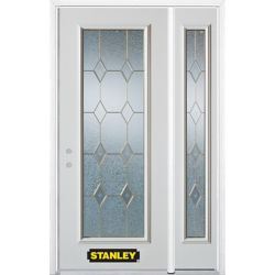 Stanley Doors 52.75 inch x 82.375 inch Tulip Brass Full Lite Prefinished White Right-Hand Inswing Steel Prehung Front Door with Sidelite and Brickmould