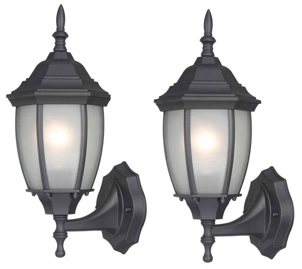HAYDEN: 1 Light Black Wall Lantern - Twin Pack, Frosted Glass