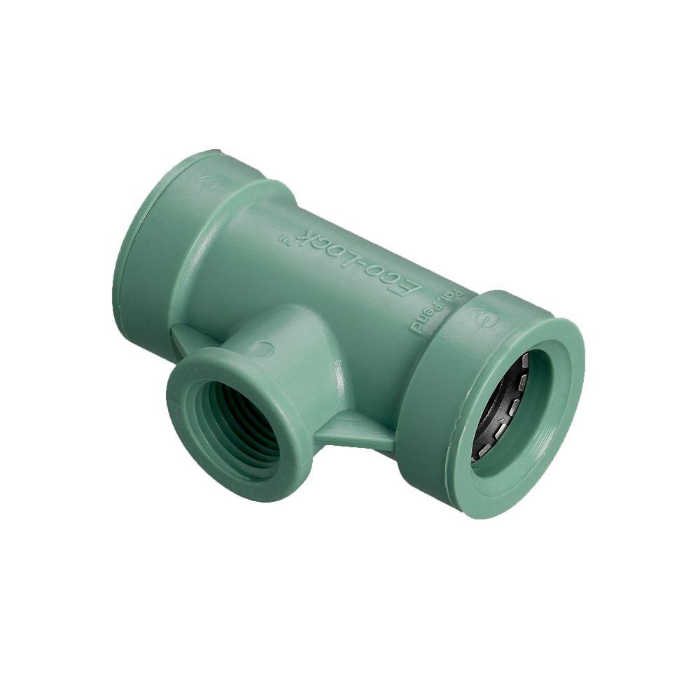 3/4 inch x 3/4 inch x 1/2 inch FPT Eco-Lock Tee