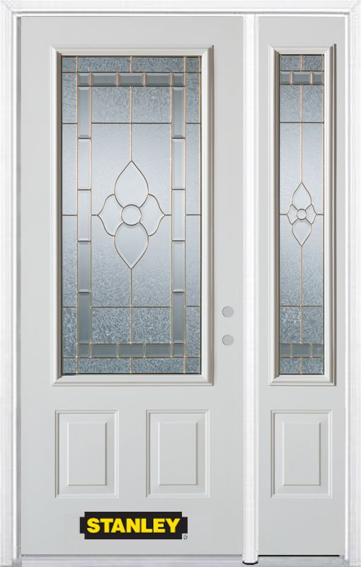 Stanley Doors 50.25 inch x 82.375 inch Marguerite Brass 3/4 Lite 2-Panel Prefinished White Left-Hand Inswing Steel Prehung Front Door with Sidelite and Brickmould