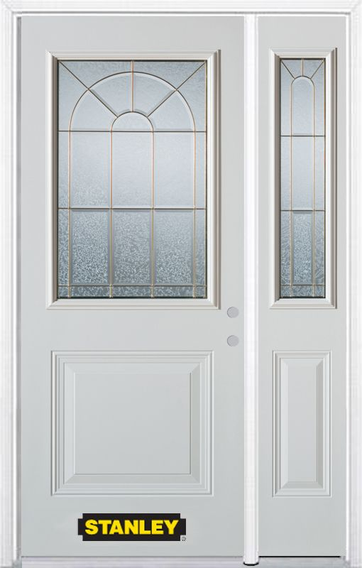 Stanley Doors 50.25 inch x 82.375 inch Elisabeth Brass 1/2 Lite 1-Panel Prefinished White Left-Hand Inswing Steel Prehung Front Door with Sidelite and Brickmould