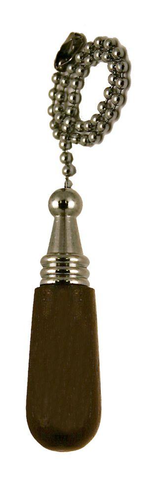 Wood Cylinder/Chrome Pull Chain