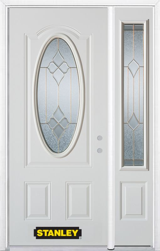 Porte dentrée en acier préfini en blanc, munie dun 3/4 verre ovale, 49 po x 82 po avec panneaux l...