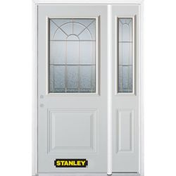 Stanley Doors 50.25 inch x 82.375 inch Elisabeth Brass 1/2 Lite 1-Panel Prefinished White Right-Hand Inswing Steel Prehung Front Door with Sidelite and Brickmould