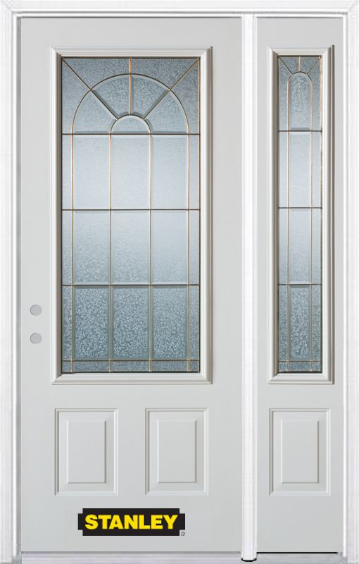 Stanley Doors 50.25 inch x 82.375 inch Elisabeth Brass 3/4 Lite 2-Panel Prefinished White Right-Hand Inswing Steel Prehung Front Door with Sidelite and Brickmould