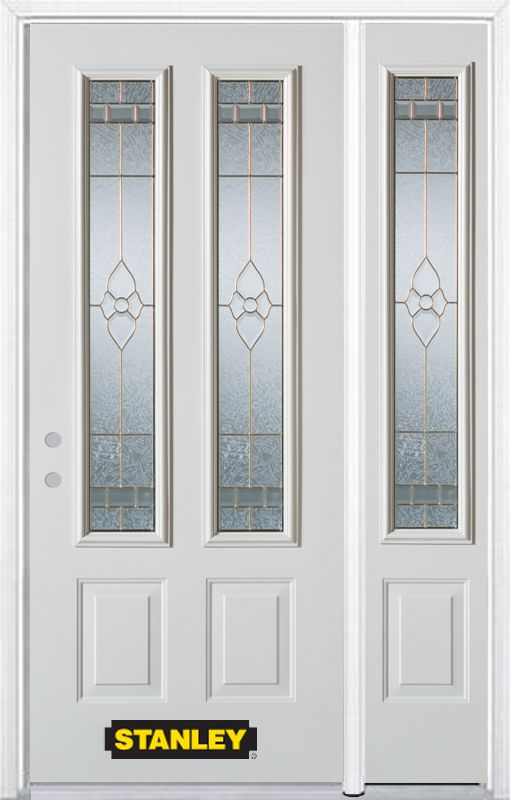 52-inch x 82-inch Marguerite 2-Lite 2-Panel White Steel Entry Door with Sidelite and Brickmould