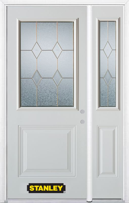 52-inch x 82-inch Tulip 1/2-Lite 1-Panel White Steel Entry Door with Sidelite and Brickmould