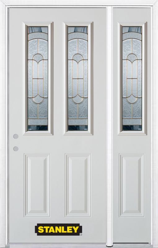Stanley Doors 48.25 inch x 82.375 inch Radiance Brass 2-Lite 2-Panel Prefinished White Right-Hand Inswing Steel Prehung Front Door with Sidelite and Brickmould