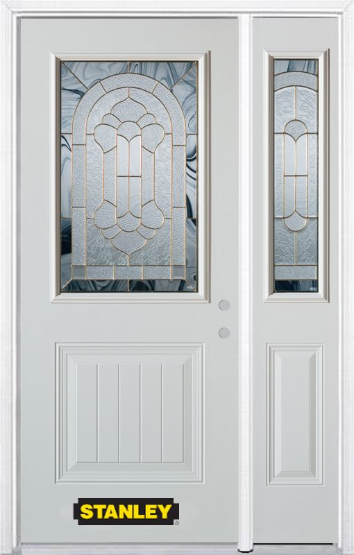 52-inch x 82-inch Radiance 1/2-Lite 1-Panel White Steel Entry Door with Sidelite and Brickmould
