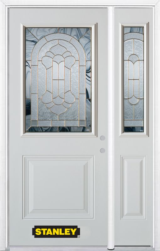 Stanley Doors 50.25 inch x 82.375 inch Radiance Brass 1/2 Lite 1-Panel Prefinished White Left-Hand Inswing Steel Prehung Front Door with Sidelite and Brickmould