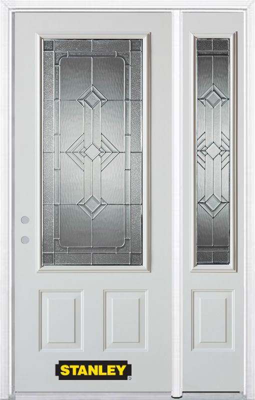 48-inch x 82-inch Neo-Deco 3/4-Lite 2-Panel White Steel Entry Door with Sidelite and Brickmould