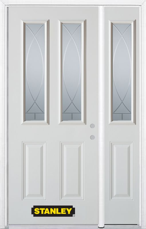 48-inch x 82-inch Bourgogne 2-Lite 2-Panel White Steel Entry Door with Sidelite and Brickmould
