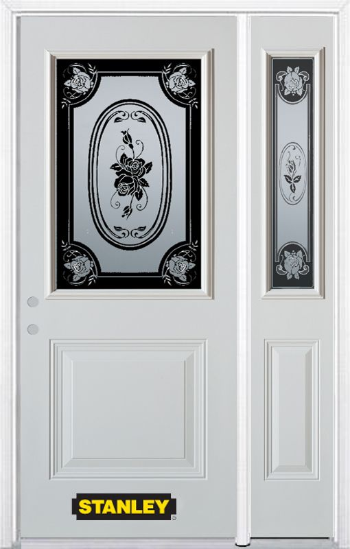 48-inch x 82-inch Mâtisse 1/2-Lite 1-Panel White Steel Entry Door with Sidelite and Brickmould