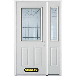 Stanley Doors Porte dentrée en acier préfini en blanc, munie de deux panneaux et dun 1/2 verre, 49 po x 82 po avec panneaux latéraux et moulure de brique